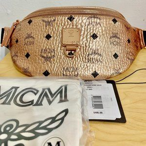 MCM Logo Fursten Visetos Belt Bag Gold Leather
